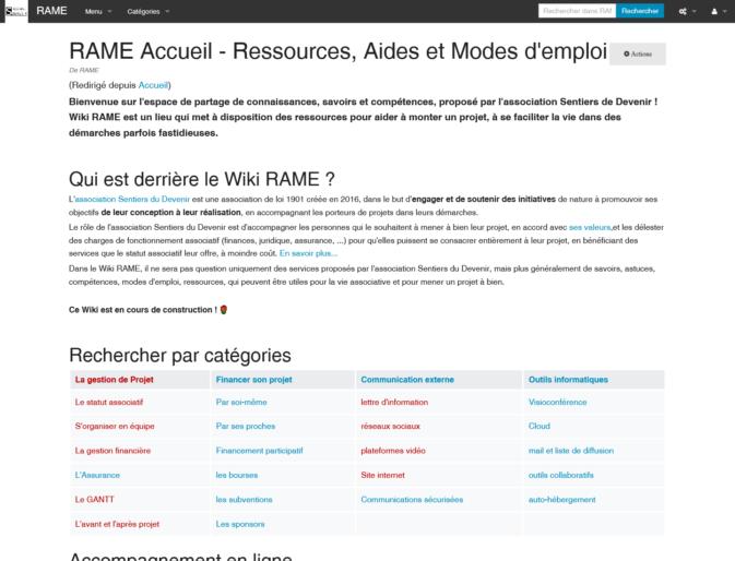 Page d'accueil du wiki RAME